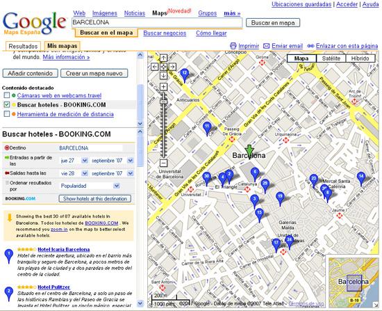 Busqueda de hoteles en Google Maps