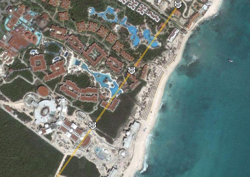 mapa aereo hotel iberostar paraiso maya playa del carmen mejico