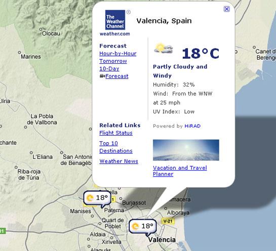 prediccion del tiempo en google maps gracias a channel weather