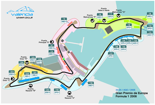 Mapa de tribunas Valencia Street Circuit, formula 1 valencia f1