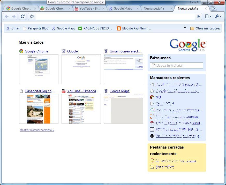 Mas visitados Google Chrome nuevo navegador de Google
