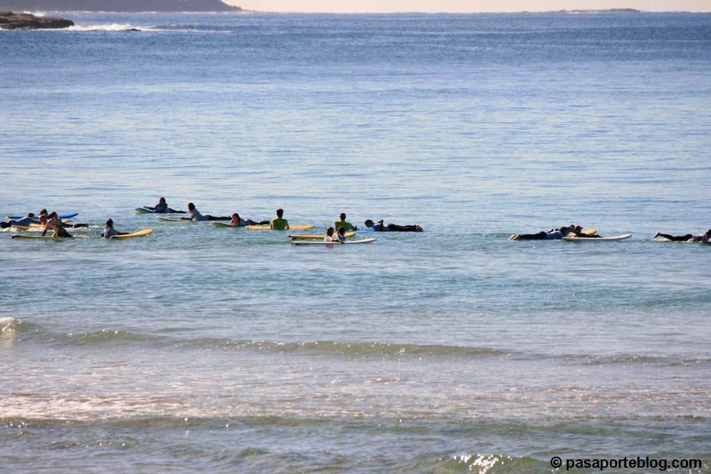 Esperando la ola para hacer surf , playa de Manly, Sydney, Australia