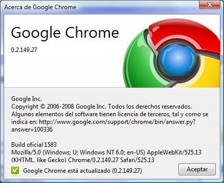 Versión 0.2.149 Google Chrome nuevo navegador de Google