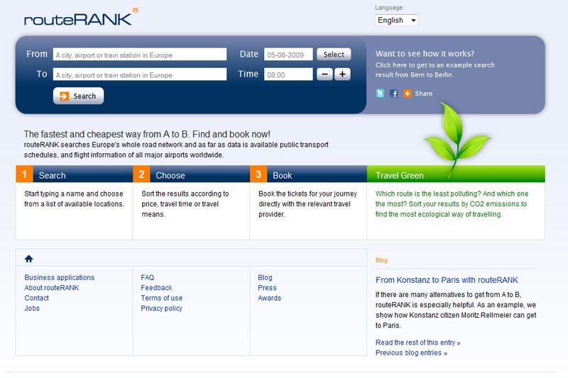 Routerank un buscador para combinar medios de transporte: vuelos, trenes, autobuses, etc.