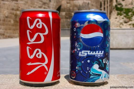 Coca cola vs Pepsi en arabe, calles de Aleppo, viaje a Siria