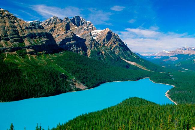 Lago Peyto (Canadá), el más cambiante de los lagos. Lago de los tres colores