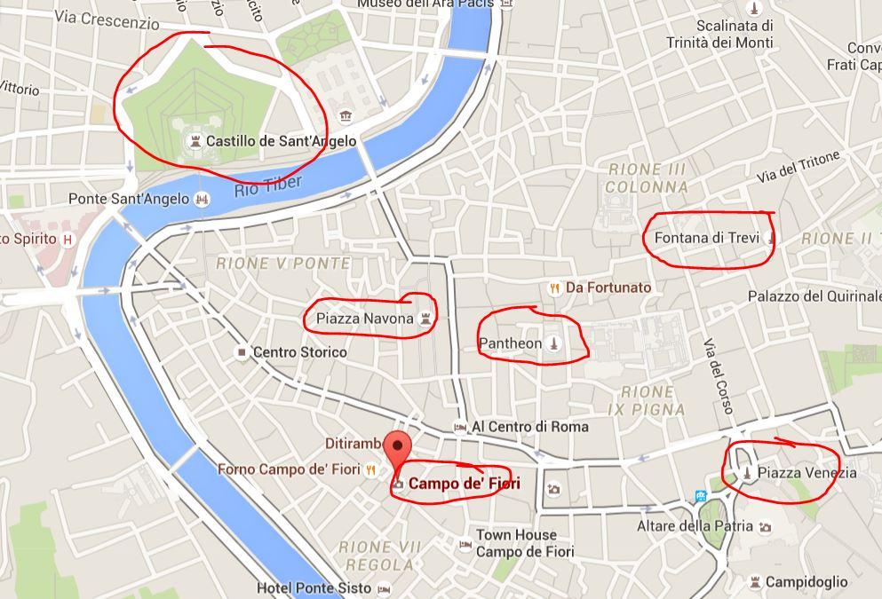 mapa segundo dia en roma tres dias