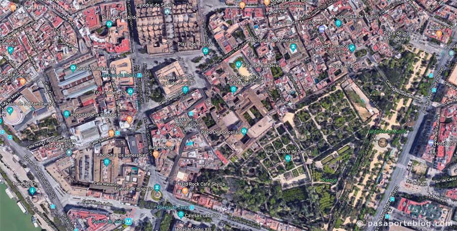 mapa real alcazar de sevilla